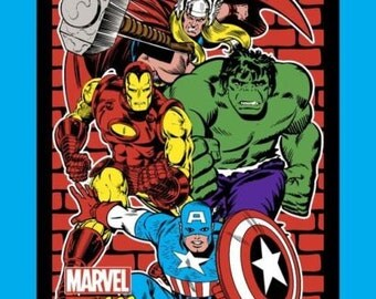 "Avengers Fabric Panel - Marvel Retro Comic Fabric Panel 60508 100% cotton 44"" x 35"" Fabric By The Panel (G195)"