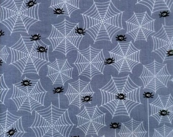 "Halloween Fabric - halloween cobweb fabric black spiders 100% cotton 43"" Fabric by the yard (G49)"