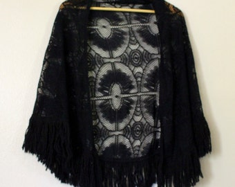 Lace Knit Black Shawl