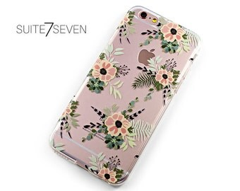 Clear Cases, Rubber Cases, iPhone 6s Case, iPhone 6 Case, iPhone 7 Case, iPhone 7 Plus Case, Galaxy Cases, Galaxy S7 Case, Floral Pattern