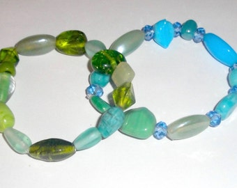 Blue and Green Glass Beaded Bracelets