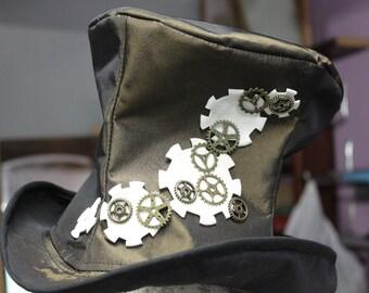 top hat steampunk satin