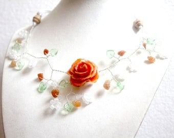 Necklace beads orange flower branch