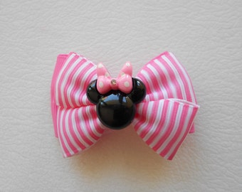Lot of 2 Minnie Mouse Rhinestone Center Handmade Hair Bow Clips Pink