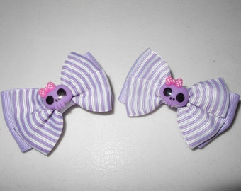 Lot of 2 Monster High Handmade Boutique Hair Bow Clips Lavender & White
