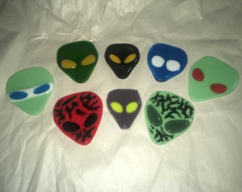 Fused Glass Alien Heads