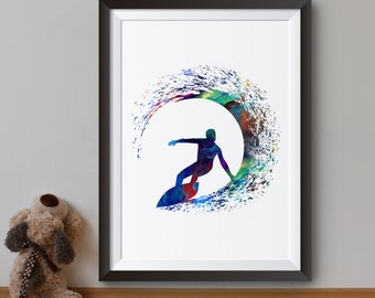 Colorful Surfer - Art Print - Cool Poster - Surfing Illustration - Wall Art - Home Decor