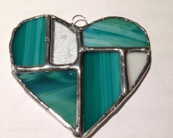 stained glass heart sun catcher