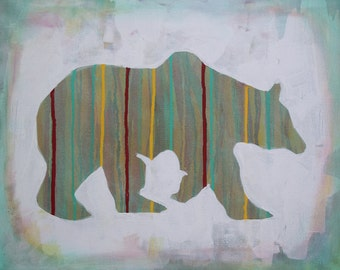 Print of original acrylic painting of a bear