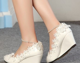 Hand-Made Wedge Flower Pearl Wedding Shoes