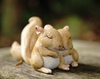 Miniature Dollhouse FAIRY GARDEN ~ Sleeping Baby Squirrel Friends ~ NEW