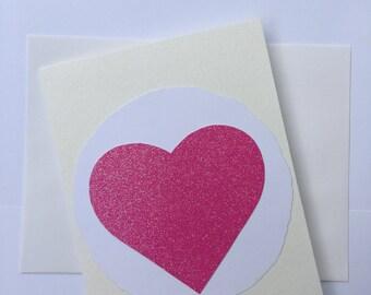Pink heart blank card