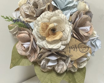 Old paper Rose bouquet for wedding, home decoration