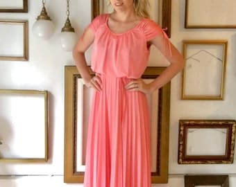 Vintage Coral Pink 70s Pleated Skirt  Dress - Free Ship