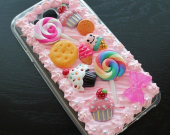 Pink Whipped Cream Candy Cupcake Rhinestone Deco Samsung Galaxy J7 Case