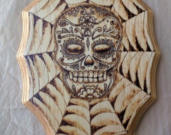 HAND BURNED Sugar skull with webb work
