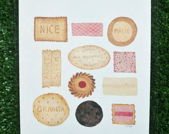 Watercolour Biscuit Print