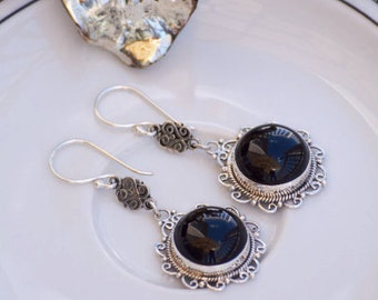 Handmade Ajoure 925 Sterling Silver Round Dangle Earrings with Black Agate
