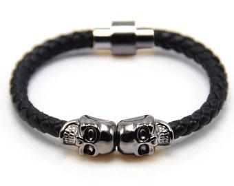 Skull Bracelet Gunmetal / Black Nappa Leather