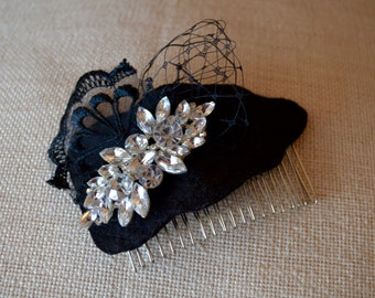 Black Felt, Lace, Netting & Diamond Detailed Hair Comb