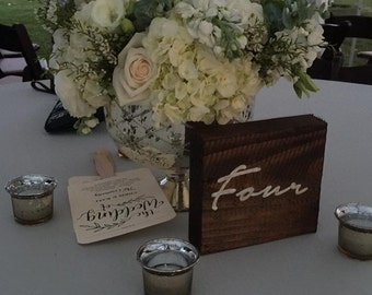 Solid wood table numbers