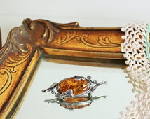 Vintage 925 Sterling Silver Orange Amber Art Nouveau Style Floral Flower Brooch Pin Tie Pin