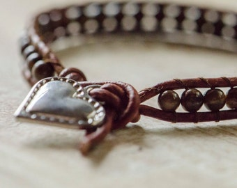 Silver Heart Leather Wrap