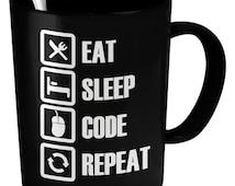 Eat Sleep Code Repeat Mug - Gift for Coder - Gift for Programmer
