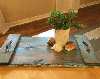 Colored Rustic Solid Wood Serving Tray, Rustic Home Decor, Farmhouse Decor, Wedding Gift, Country Home Decor, Custom Gift, Personalized