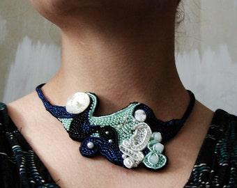 Music Full Moon, soutache necklace