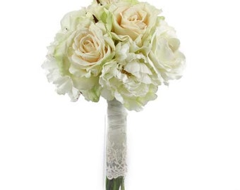 Wedding Bouquet,  ivory and blush peonies and roses