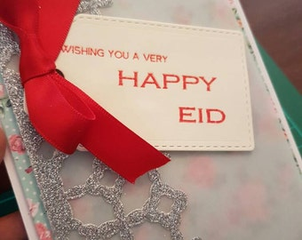 Happy Eid greetings card. Carefully hand crafted, colourful and glitzy