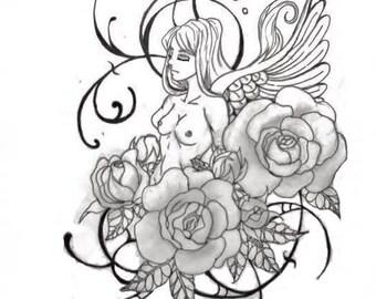 Angel Flower Tattoo Design- Download