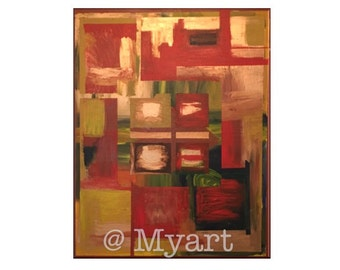 Large abstract painting on Canvas - Golden Red Window