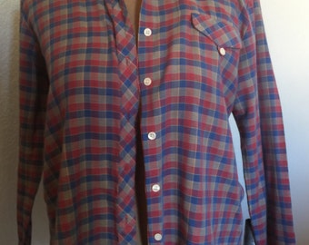 Vintage 1970s Plaid Western Shirt Stranger Things Barb