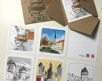 Postcards set with sights of old Tallinn