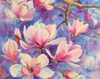 ORIGINAL. Watercolor. Magnolia. Flowers.