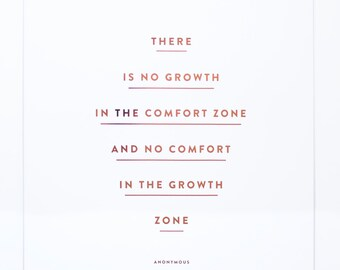 There Is No Growth In The Comfort Zone  - Copper Foil Print
