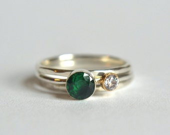 Sterling Silver Emerald Ring Set. Emerald Ring, Dainty Emerald Ring, Two Gemstone Ring, Green Gemstone Ring, Emerald Stacking Rings