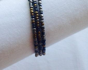 Tri-Metallic Triple Coil Bracelet