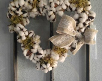 Heart shaped cotton wreath with burlap bow