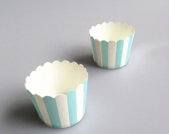 Sky Blue Stripe Baking Cups, Cupcake Cups, Treat Cups, Ice Cream Cups, Candy Cups, Favour Cups - BC002