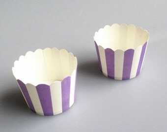 Purple Stripes Baking Cups, Cupcake Cups, Treat Cups, Ice Cream Cups, Candy Cups, Favour Cups - BC003
