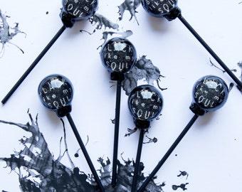Set Of Six 'Black Like My Soul' Lollipops
