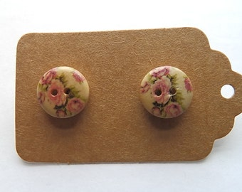 Handmade Wooden Button Floral Studs #1