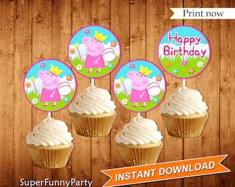 Peppa Pig Cupcake Toppers, Instant Download, Digital File