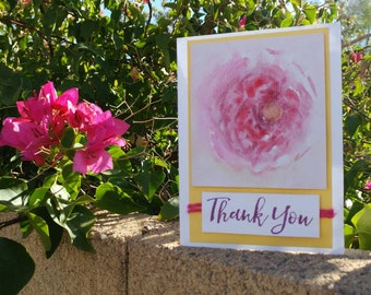 Watercolor Thank You Card - A Rose By Any Other Name