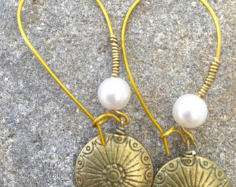 Handcrafted Brass and Pearl Earrings (Item #53901)