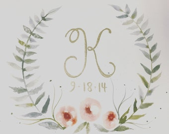 Customizable with Letter and date of your choosing. Made to order watercolor  please specify colors as well