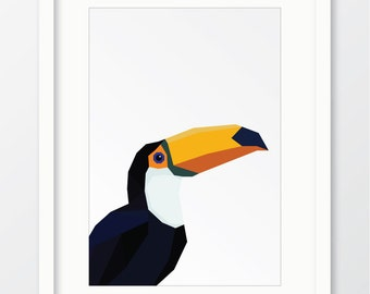 Toucan, Geometric bird, Geometric animal, Toucan print, Bird print, Bird wall art, Geometric bird print, Modern print, Digital download